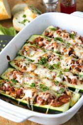 Einfache gefüllte Zucchini-Boote   – Healthy food