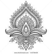 Mehndi Lotus Flower Pattern Henna Drawing Stock Vector (Royalty Free) 443739436
