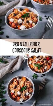Orientalischer Couscous Salat mit Kürbis, Möhren, Feta und Rosinen
