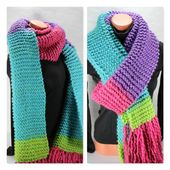 Chunky knit scarf winter scarves for women  oversized scarf with fringe, unique …