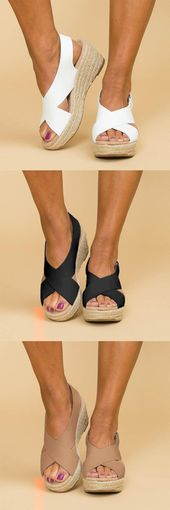 Compre ahora> US $ 42.99 – Sandalias de cuña con cinta mágica   – Mode und Ideen