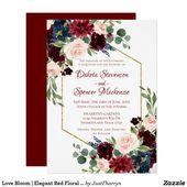 Love Bloom | Elegant Red Floral Gold Frame Wedding Invitation | Zazzle.com