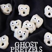 Ghost Pretzels – White chocolate dipped pretzels…