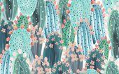 Cactus pattern desktop wallpaper design