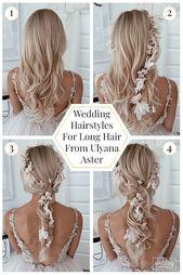 36 lange Haare Hochzeitsfrisuren von Ulyana Aster #aster #wedding Frisuren #long #ulyana #diy Frisuren