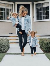 Matching denim jacket outfits! So cute #mamaandme