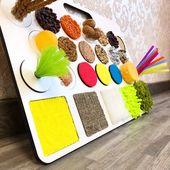 Sensory Board for Toddler Busy Board Montessori toy Tactile Child Development Infant Educational Wooden White on Stand