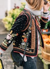 Manteaux Broderie Autre Manches longues Mouton & Simili-mouton  – Floryday @ flo…