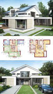 Luxushaus Architektur Design mit 5 Schlafzimmer & Satteldach Modern Zeitgenössisch …   – Anbau satteldachhaus