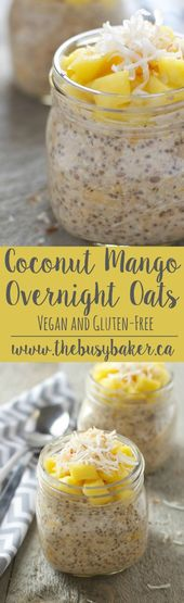 Coconut Mango Overnight Oats recipe from www.thebusybaker.ca  An easy, healthy E…