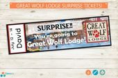 Great Wolf Lodge Surprise Trip Reveal Tickets // Adobe editable PDF // surprise,… – mindy