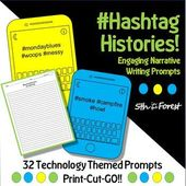 Hashtag Histories 32 Technology Themed Writing Prompt Task Cards