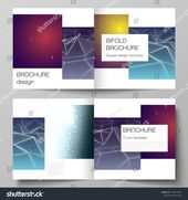 Vector layout of two covers templates for square design bifold brochure, magazine, flyer, booklet. 3d polygonal geometric modern design abstract backg…