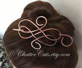 Barrette de bâton de cheveux celtique, support de brioche de chignon de cuivre, épingle à cheveux en métal, cadeau pour femme