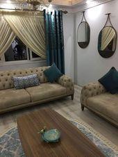 Wohnzimmer, Vorhang, rustikaler Vorhang, Spiegel, Kaffeetisch, Creme, Teppich, Blau   – ev dekorasyonu