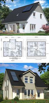 Freistehende Hausarchitektur mit Satteldach & 5-Raum-Grundriss mit Erkererweiterung …   – Anbau