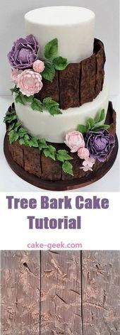 Baumrindenkuchen-Tutorial für eine hübsche Hochzeitstorte aus dem Wald auf Cake-Geek.com   – Wedding Cakes