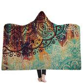 150x200CM Wearable Hooded Blankets Adults Kid Warm Winter Throw Multifunctional Blankets
