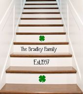 Vinyl Stair Riser Decals – Custom Family Name and Established Date – Charming Surname Married Name a