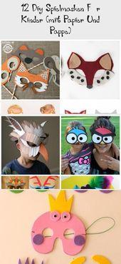 12 DIY Spielmasken für Kinder (mit Papier und Pappe) #bastelnmitkindernAuto #ba…