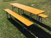 Original German Beer Garden Tables, Yellow painted, pick nick table, Oktoberfest, Munich beer table