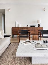 Wohnzimmer-Einrichtung (Interior Design) in den Farben weiß, beige, cognac und …