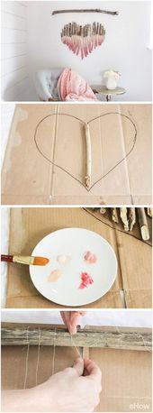 Kunststück mit Ästen. Machen Sie eine herzförmige Wandkunst aus Treibholz oder