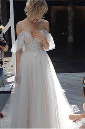Abito da sposa avorio blush leggero bianco luci pizzo treno abito abito in tulle bohemien corsetto taglio aperto pizzo trasparente illusione spiaggia