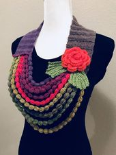 Stylish elegant hand-crochet necklace scarf is one-of-a-kind women's accessory… – colar