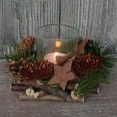 Holzkranz mit Deko Windlicht Advent Adventskranz Weihnachten Holz Glas Tischdeko