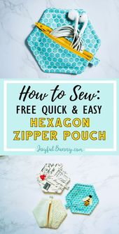 How to Sew: Free Quick & Easy Hexagon Zipper Pouch A perfect project for beginne