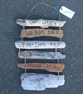 Our Love Story Sign Timeline Dates- Custom Wedding Gift for Husband or Wife Wedding Engagement, First 1st Wood Anniversary Gift for Couple