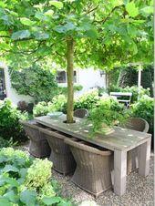 42 Erstaunliche Ideen mit natürlichen Pergolen im Garten und wie man den Raum um die Bäume organisiert