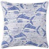 Highland Dunes Corinne Sailfish School Blue Throw Pillow Highland Dunes