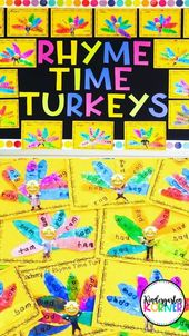 Rhyme Time Truthähne Thanksgiving Bulletin Board Zentren Wortfamilien Schreiben K 1   – *Primary Grade Language Arts Fun