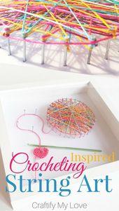 Häkeln inspiriert String Art – Craft Room Wandkunst