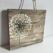 Dandelions on rustic wood, old wood, original handmade