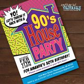 90s House Party Invitation / House Party Flashback Birthday Invite / Printable 1990s Throwback Party Invites / digital file – Tisha's 40th Bday