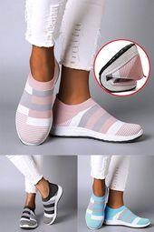 Zapatillas de deporte cómodas de color block para mujer Zapatillas sin cordones para correr   – Elternberatung