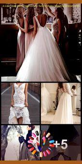 A-Line Open Back Organza och Tulle Princess bröllopsklänningar med rosett – nya idéer