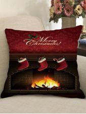 Christmas Stockings Fireplace Print Decorative Pillowcase
