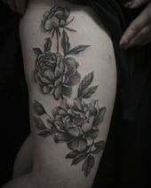 Peonies erstes Tattoo für @ tusia1504 #tattoo #tattooworkers #dotwork #peonyt …