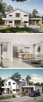 Freistehende moderne Hausarchitektur mit Satteldach & Büroverlängerung – vorgefertigte …   – Buroarchitektur