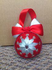 Photo of HCD005 Weihnachtskugeln Rot & Silber ~ Handgemachte Weihnachtsdekoration