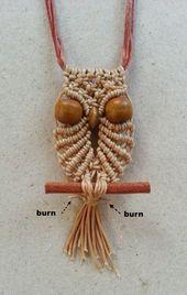 Ecocrafta Macrame: Collier petit hibou en macramé
