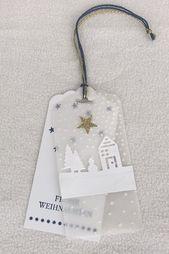 weiße Geschenkanhänger Weihnachten   – Weiße Weihnachten – white Christmas decorations