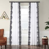 Exclusive Fabrics & Furnishings Castle White and Black Flocked Faux Silk Curtain – 50 in. W x 96 in. L-PTFFLK-C36A-96