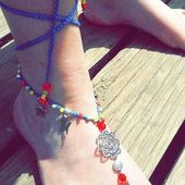 Gypsy Bellydance Shoes Slave anklet Turquoise Hippie Shoes Rudder Barefoot Sandals