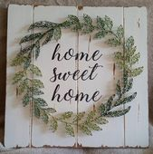 Wreath String Art Home Sweet Home Decor