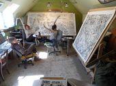 Illustrator Workspace Look at those HUGE drawing desks! Beehive Design Collective.